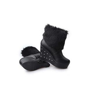 Image 5 - Cuculus 2020 Winter Faux Fur Fashion Wedges Heels Women Shoes Woman Boots Platform Warm Snow Luxury Femme Ladies Boot White 1034