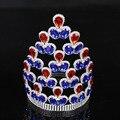 Hot projetos Europeus Grandes acessórios para cabelo Nupcial da tiara da coroa Rodada Círculo Completo Mulheres Azul Branco Festa de Casamento de Cristal Coroa