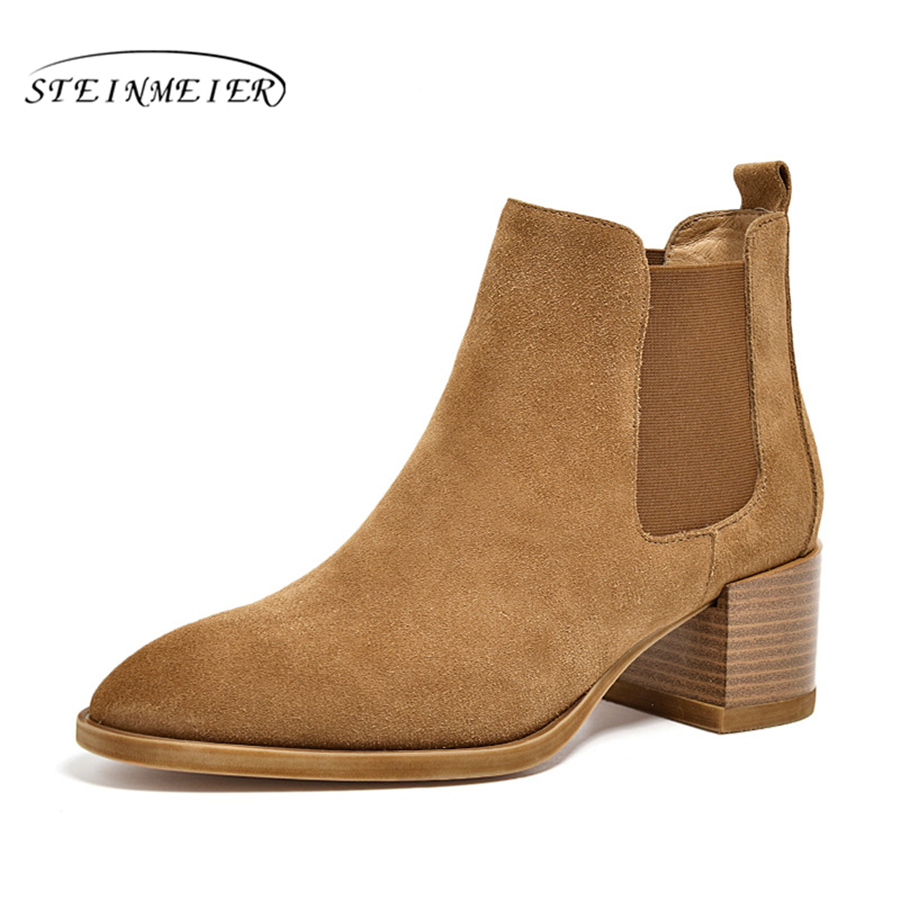 Genuine cow Leather Ankle chelsea Boots women shoes pointed toe elastic band Handmade black coffee brown