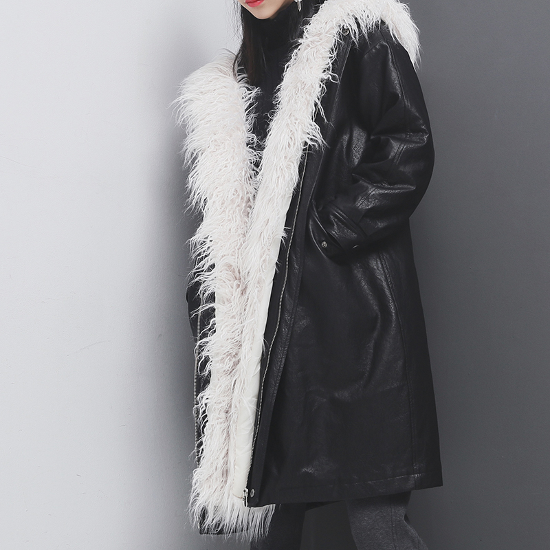 SuperAen Leather Fashion Parkas Coat Women Europe Solid Color Cotton Casual Warm Coat Winter New 2017 Loose Wild Thicker Coat factory outlets 2014 new winter in europe and america women british style stitching cotton quilted jacket short parkas coat