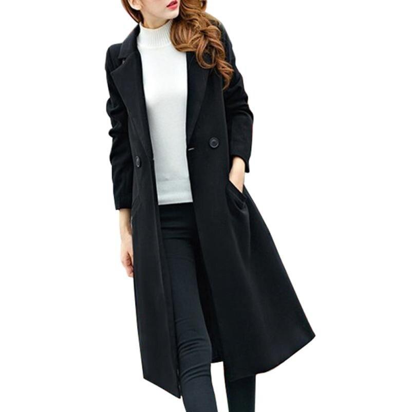 FEITONG Womens Fashion Coat Autumn Winter Long Woolen coat Overcoat Parka Outwear Casual Solid Button Plus Size long Cardigan