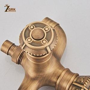 Image 5 - ZGRK Bibcock ברז רטרו עתיק פליז קיר רכוב אמבטיה מכונת כביסה ברז סמרטוט כיור ברזי חיצוני גן ברז
