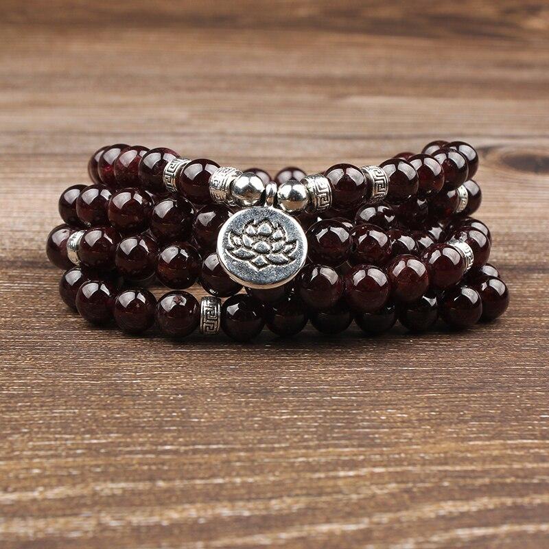 ✔  Линсян 8 мм вино гранатовый браслет 108 бусин 5 кругов йога кулон ожерелье  подходит для мужчин и же ✔