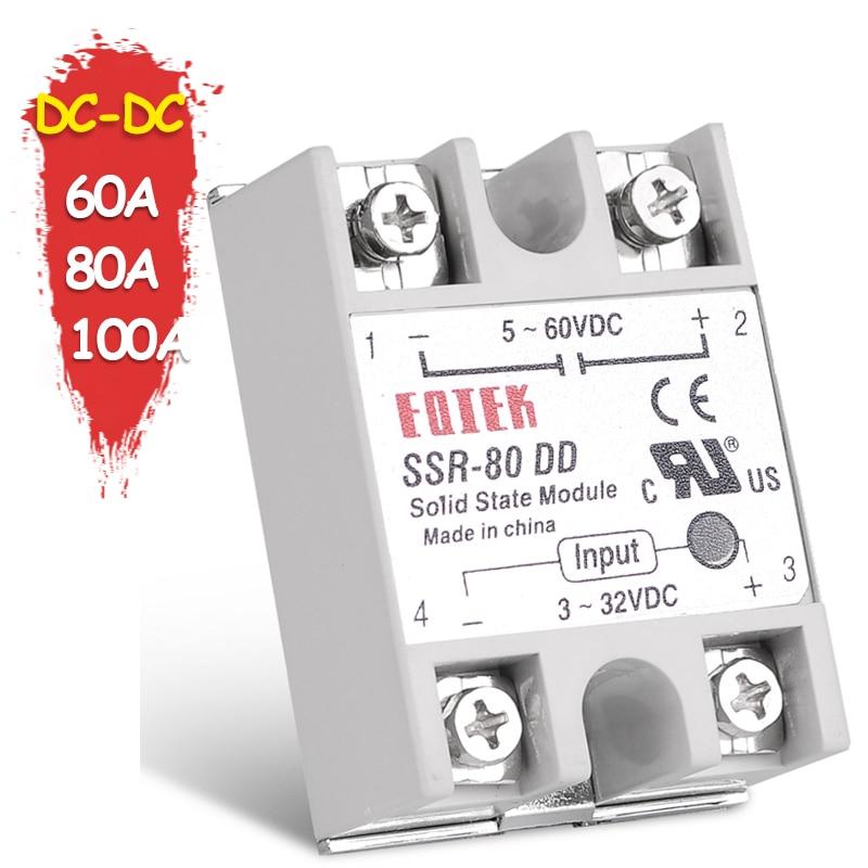 Твердотельное реле SINOTIMER, Однофазное реле с SSR 60A, 80A, 100A, 3-32 В, 5 В, 12 В постоянного тока на 5-60 В постоянного тока без крышки