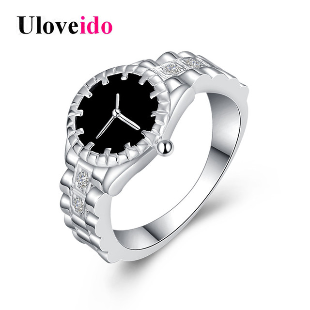 Uloveido Watch-shape Rings for Women Cubic Zirconia Black Ring Female Silver Col