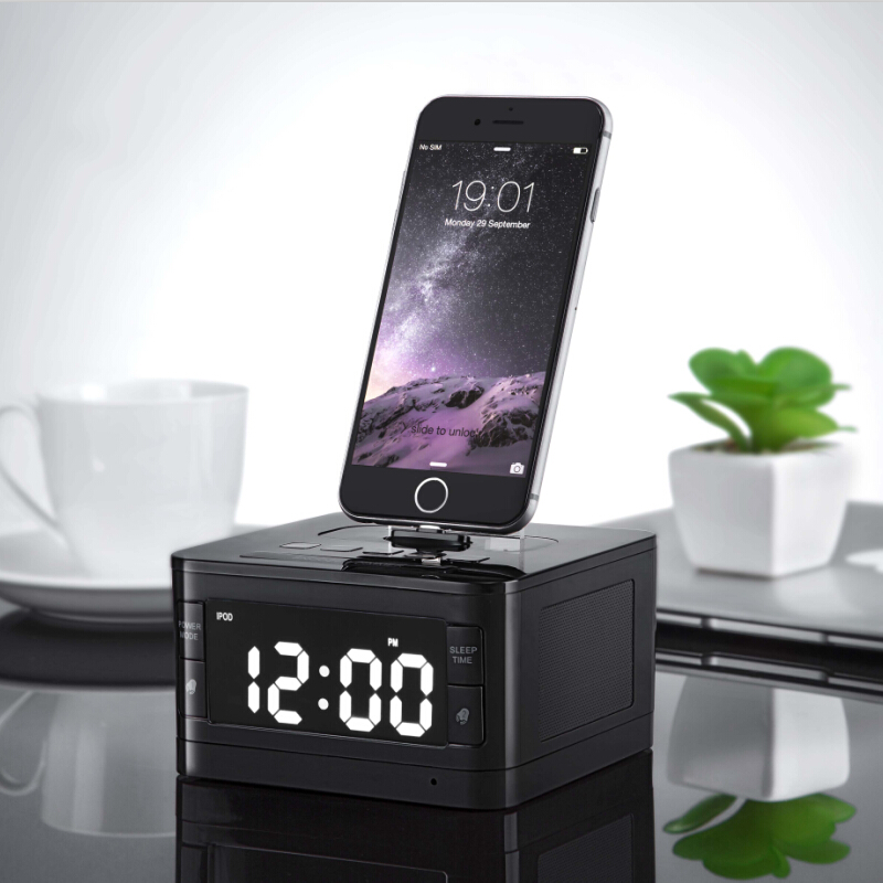 Original T7 Bluetooth Radio Alarm Clock Speaker System with LCD Screen Music Dock Charger Station Stereo Speaker for iPhone/ipod