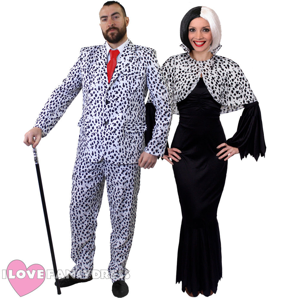 ADULT 101 DALMATIANS EVIL DOG LADY MEN COUPLE HALLOWEEN FANCY DRESS COSTUME BLACK AND WHITE TV FILM MOVIE CHARACTER COSPLAY image