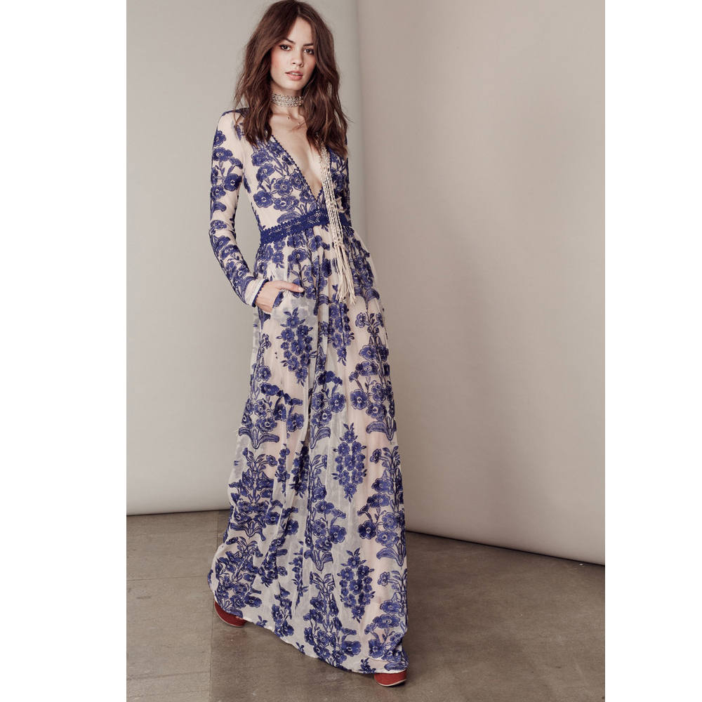 High end 2016 women long sleeve sexy deep v neck white and blue wine high end 2016 women long sleeve sexy deep v neck white and blue wine embroidery flower mesh for love and lemons long maxi dress in dresses from womens izmirmasajfo
