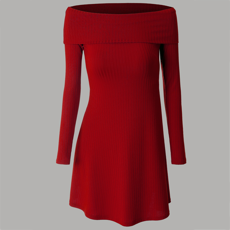 Red Off Shoulder Dress Women 2017 Spring New Lovely Knitted Sweater Dress European Style Sexy Party Night Club Dress Women XXXL