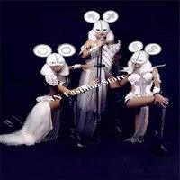 WX39 HA CONDOTTO LA luce costumi da ballo sexy argento catwalk musica dance vestiti cantante bar partito wears palco discoteca dj cosplay abiti