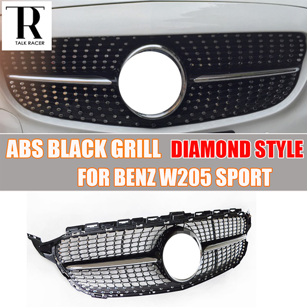 W205 ABS Black Diamond Style Front Grill Grille for Benz W205 C180 C200 C220 C250 C300 Sport Bumper 2015 2016 2017