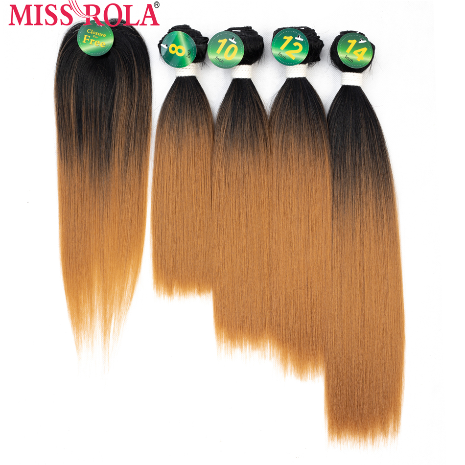 Miss Rola Synthetic straight Hair weft Ombre Colored Hair Weaving Bundles 8-14inch 5pcs/Pack 200g T1B/27 With Free Closure ...