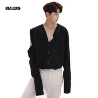 Men Street Fashion Show Casual Shirt Male Asymmetric Shoulder Long Sleeve Hollow Loose Dress Shirt Performance Uniforms