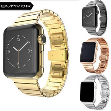 BUMVOR Black White  Watch Band Strap for Apple Watch iwatch 40/44MM 38/42MM Link Bracelet Butterfly Buckle series 4/3/2/1 bumvor for apple watch band 38 42mm black gold stainless steel bracelet buckle strap clip adapter for apple iwatch