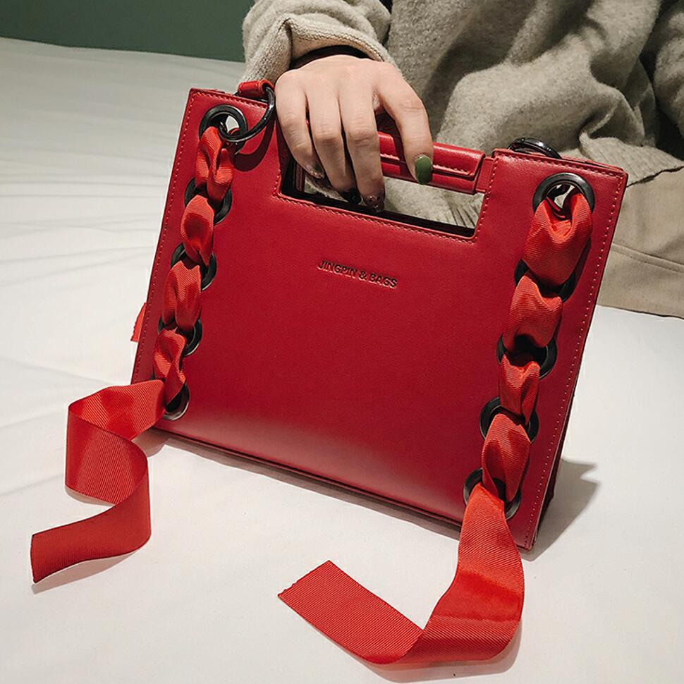 Luxury Handbag 2019 Fashion New High Quality PU Leather Women's Designer Handbag Ribbon Tote Bag Leisure Shoulder Messenger Bags