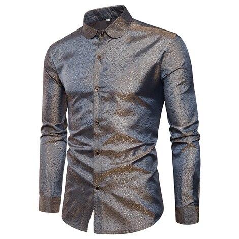 Silk Satin Shirt Men Brand New Smooth Tuxedo Shirt Shiny Gold Dot Print Wedding Dress Shirts Casual Slim Fit Purple Shirt