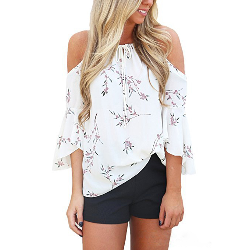 3 Color Women Fashion Print Blouse Shirt 2018 Casual Off Shoulder Womens Tops And Blouses Ladies Shirts Women Tops MLD746