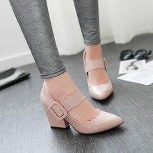 Лучший!  2019 новые туфли на высоких каблуках женщин ну вечеринку толстый каблук круглый носок пряжка ремешок