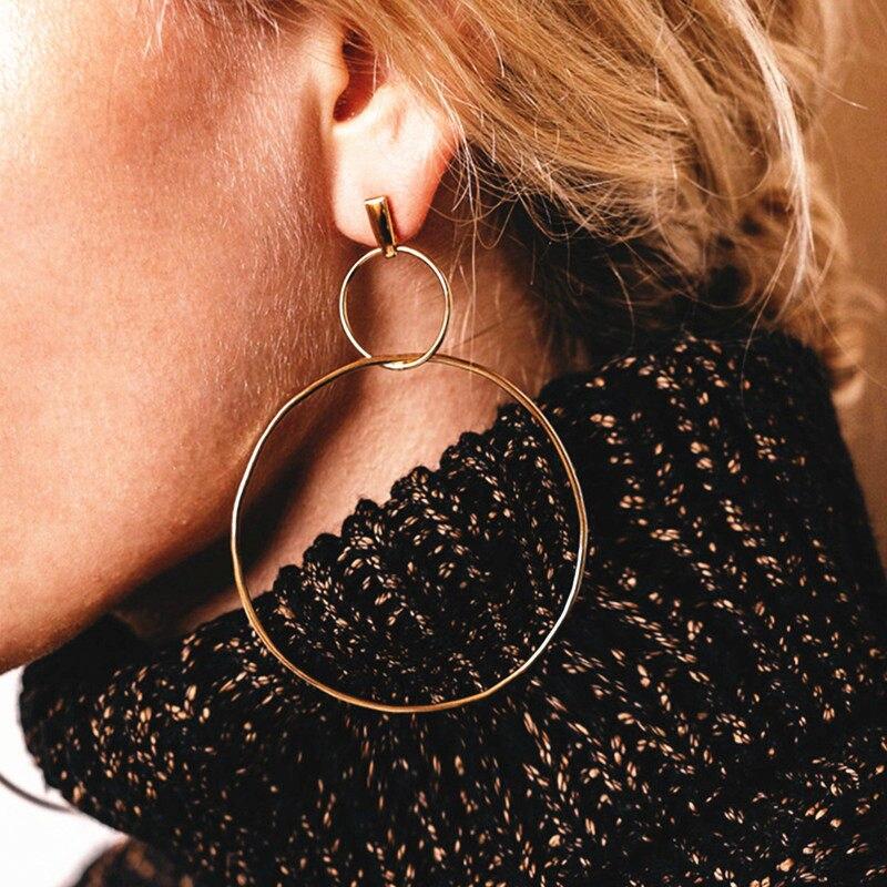 Простые модные геометрические большие круглые серьги золотого цвета с серебряным покрытием для женщин, модные большие полые висячие серьги, ювелирные изделия - Окраска металла: e0214