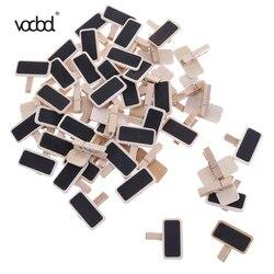 50 pçs/lote Fornecimento de Fábrica Grampos Nota clipe Pasta de Fotos Clipe Marca Negro Mensagem Folders Chalkboards Clipes de Papel De Madeira Mini