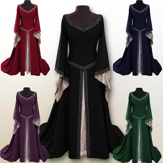 2019 New Medieval Renaissance Velvet Long Dress Celtic Queen Gown Party Cosplay Costume Square Collar Maxi Dress S-2XL gown