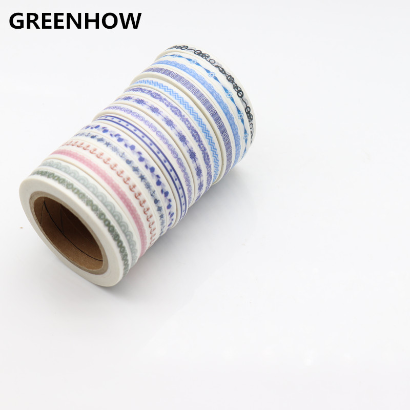 GREENHOW Vintage nature paper masking tapes set 5mm*7m slim washi tape 4600 nature explorer box set