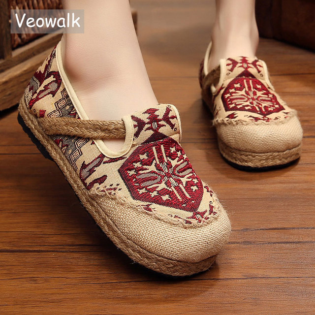 Veowalk Embroidered Women Casual Linen Cotton Shoes Ladies Walking Flats  Woman Driving Loafers Zapatos Mujer Plus Size 35-44 91cee5004cae