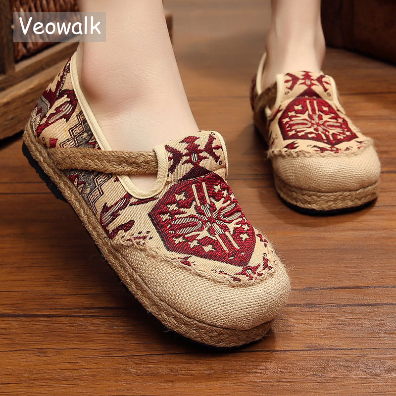 Veowalk Embroidered Women Casual Linen Cotton Shoes Ladies Walking Flats Woman Driving Loafers Zapatos Mujer Plus Size 35-44 korean woman high heel pointed toe solid mujer pumps shallow mouth square heels womens shoes work office lady all match tacones