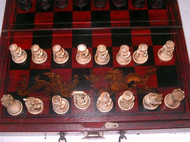 Qing Army Chinese wood Leather Box with 32 pieces Chess Set ,Free shipping