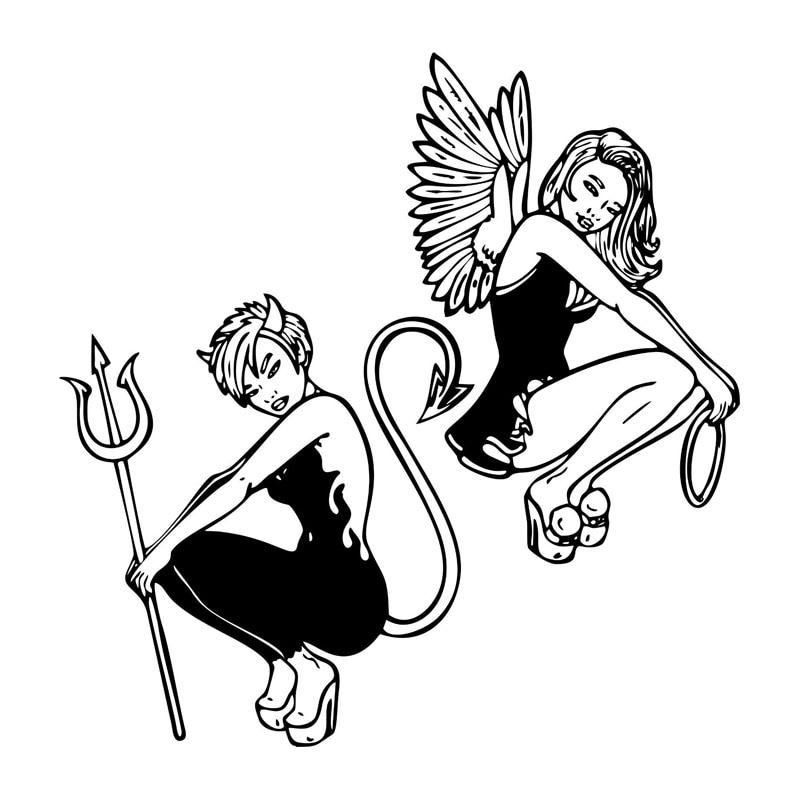 19.9*20.3CM Sexy Devil Angel Girl Car Stickers Interesting Motorcycle Vinyl Decals Black/Silver C7-1364 16 8cm 13 6cm hot sexy girl creative decor car accessories vinyl stickers black silver s3 5751
