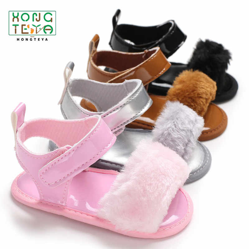 New Style Soft Plush Shoes Baby Girl Downy Summer Sandals Newborn Babe Soft Soled Toddler Non-Slip Baby Moccasins Prewalkers