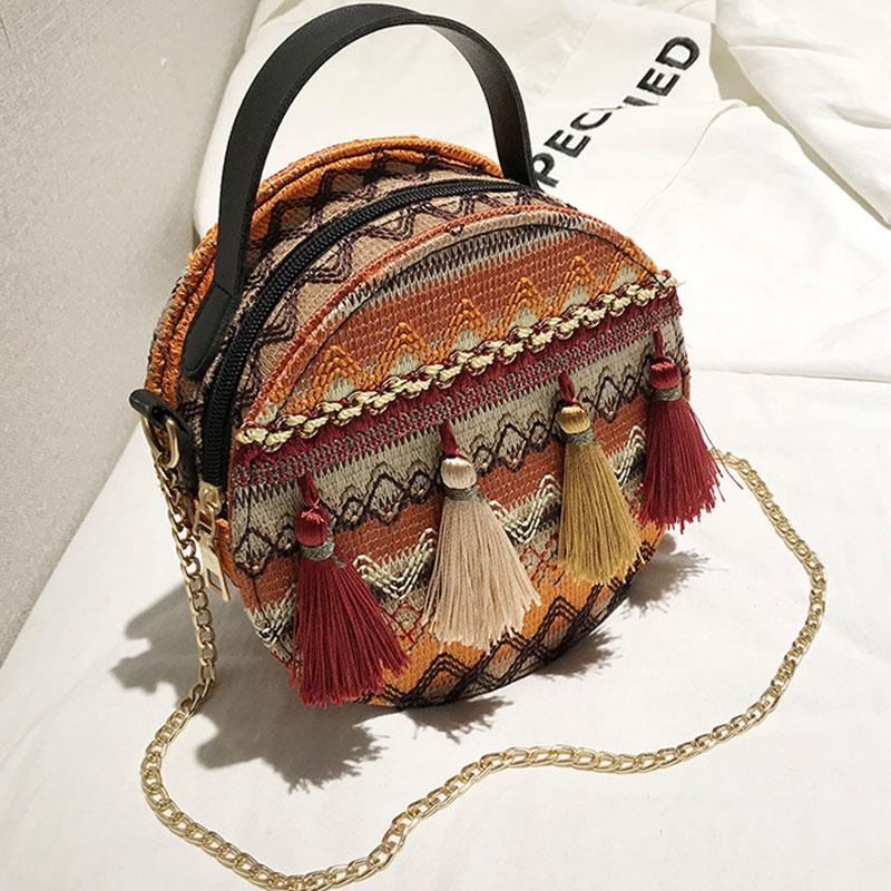 Women Bags Crossbody-Bags Boho-Style Handle Embroidery Mini Summer Striped National Tassel