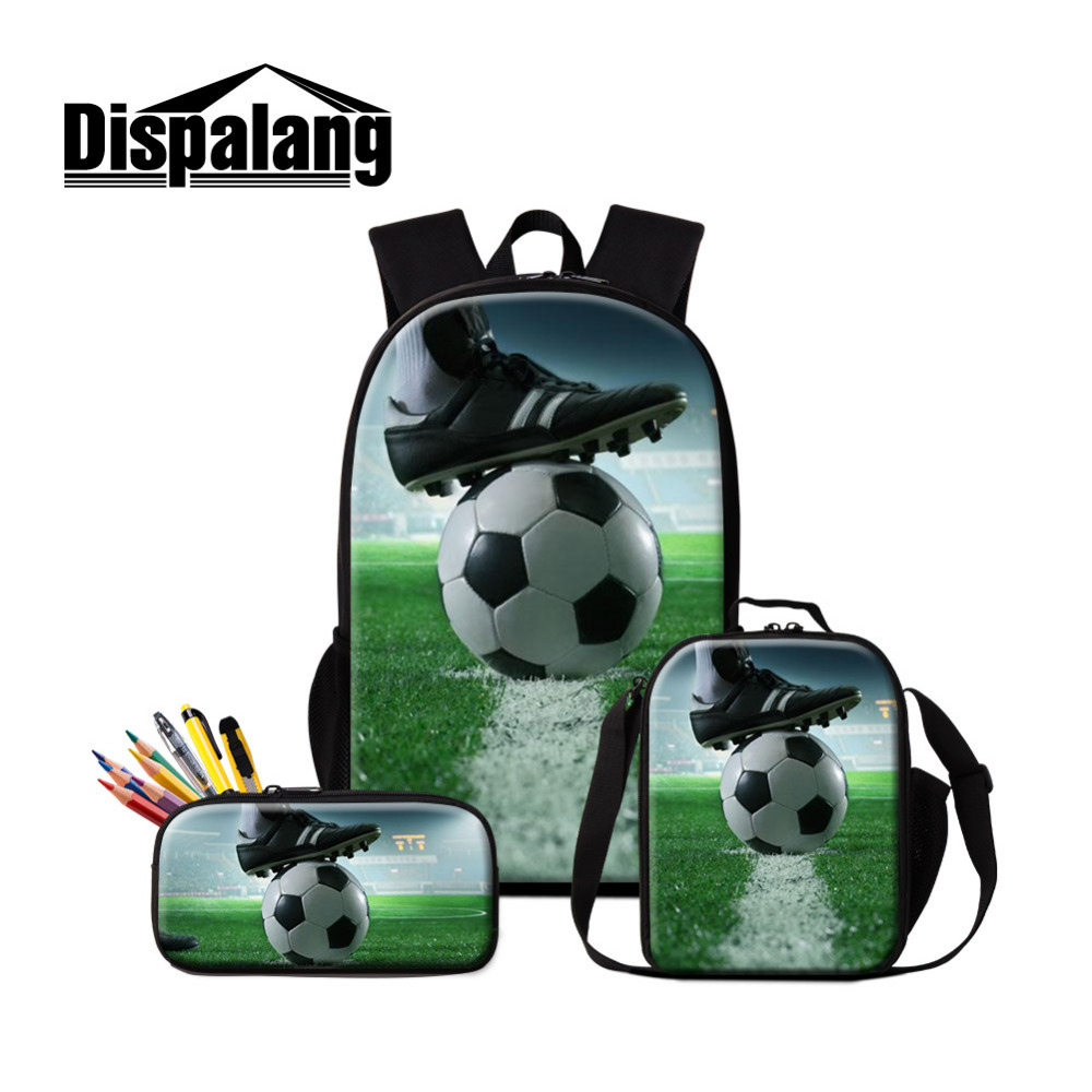 Dispalang Football Print 3Pcs Set Backpack Women Men School Bag with Lunch Bag Pencil Case Knapsacks Boys Childrens Schoolbag