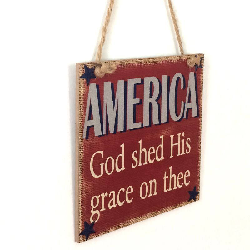 Image 3 - Rustic Wooden Hanging Plaque Sign Board America God Shed His Grace On Thee Room Wall Door Home Decoration Gift-in Plaques & Signs from Home & Garden