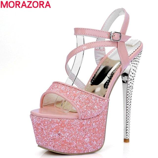 7b99d870 MORAZORA nueva llegada 2018 verano sexy tacones finos zapatos de baile mujer  tacones punta abierta plataforma