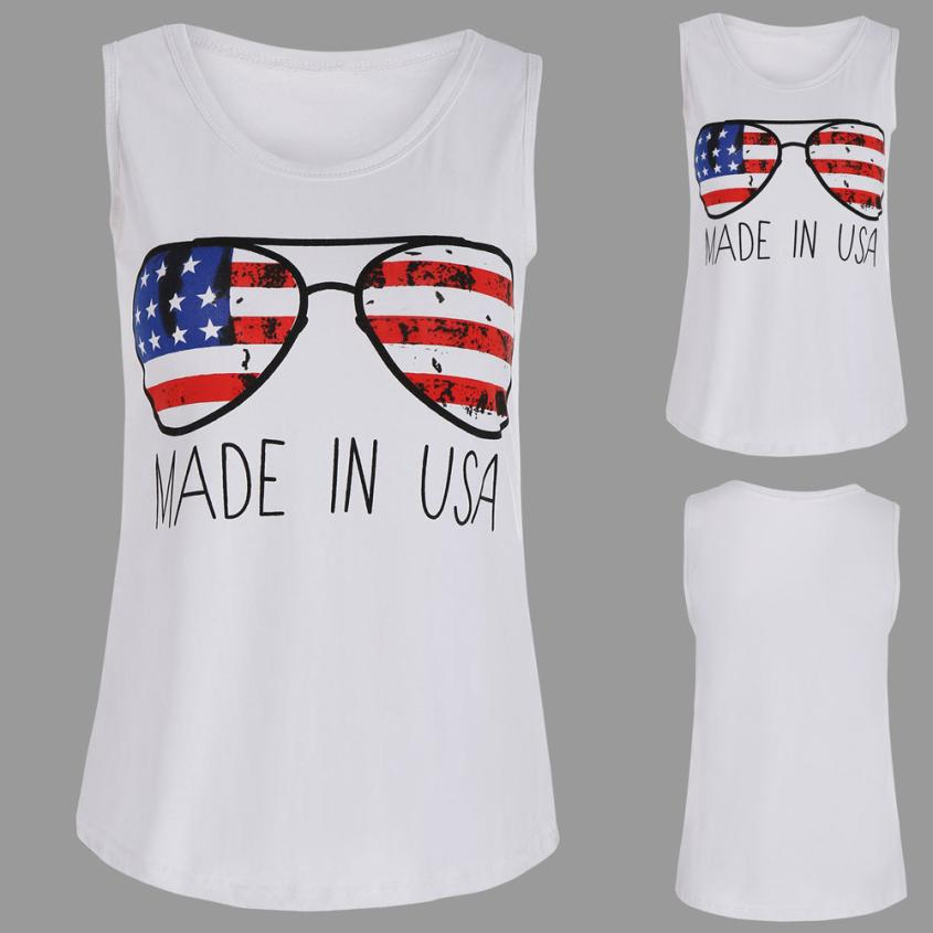 feitong 2018 New Hot Sale Spring Summer Women Fashion Sexy American Flag glasses Print Tank Tops Blouse Vest Casual Clothes