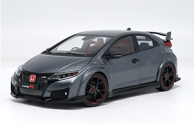 1:18 Diecast Model for Honda Civic TYPE R 2016 Gray Alloy Toy Car Miniature Collection Gifts TYPER MK10