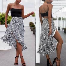 נשים לעטוף סרונג ארוך חצאית זברה פס החוף לחפות בוהמי Boho חלוק