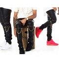 Alta Calidad de Los Hombres de Justin Bieber Pantalones Flacos Pu Imitación de Cuero Delgado fit pantalones hip hop swag cremallera biker basculador pantalones kanye west
