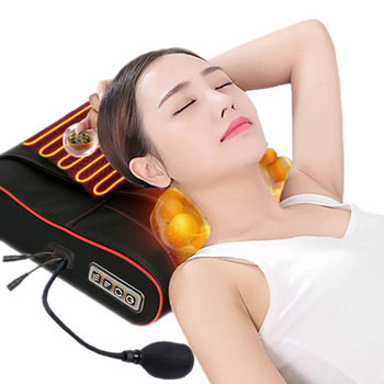 1PCS Massager Cervical Vertebra Massage Pillow Shiatsu Neck Traction Kneading Shoulder Back Relax Infrared Heating Waist Cushion