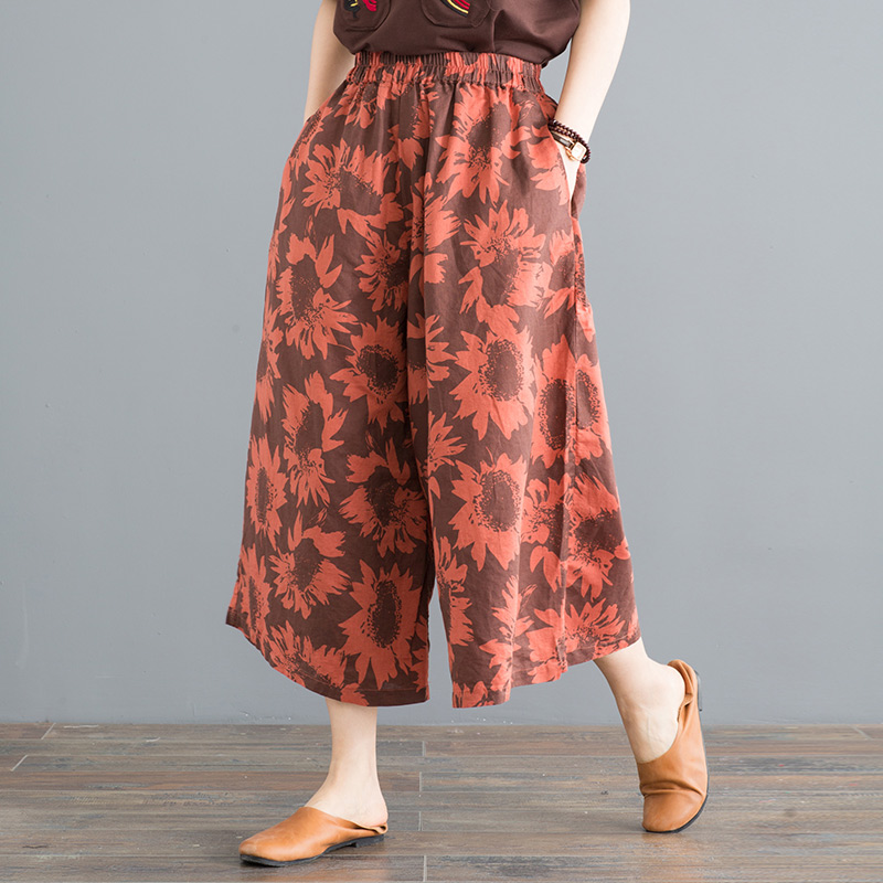 Female summer loose   wide     leg     pants   retro art Digital printing casual calf-length   pants