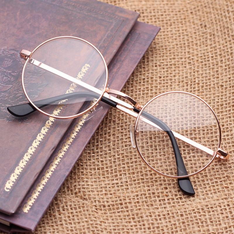 Gafas Unisex UV400 lisas para mujer, gafas redondas de aleación de oro, Color plateado a la moda y bonitas