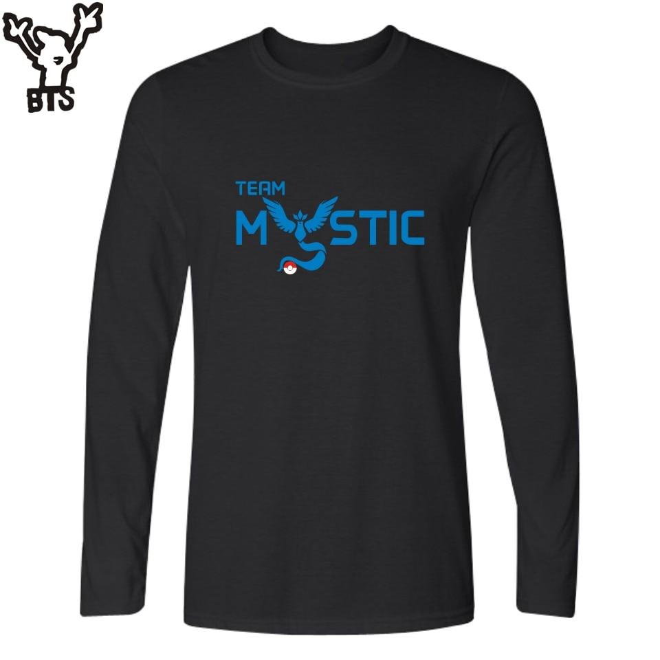 BTS Cartoon Pokemon Go Game Long Sleeve T Shirt Men Casual T-shirts, Pokemongo Men TShirt Brand Famous of Tee Shirt 4XL XXL