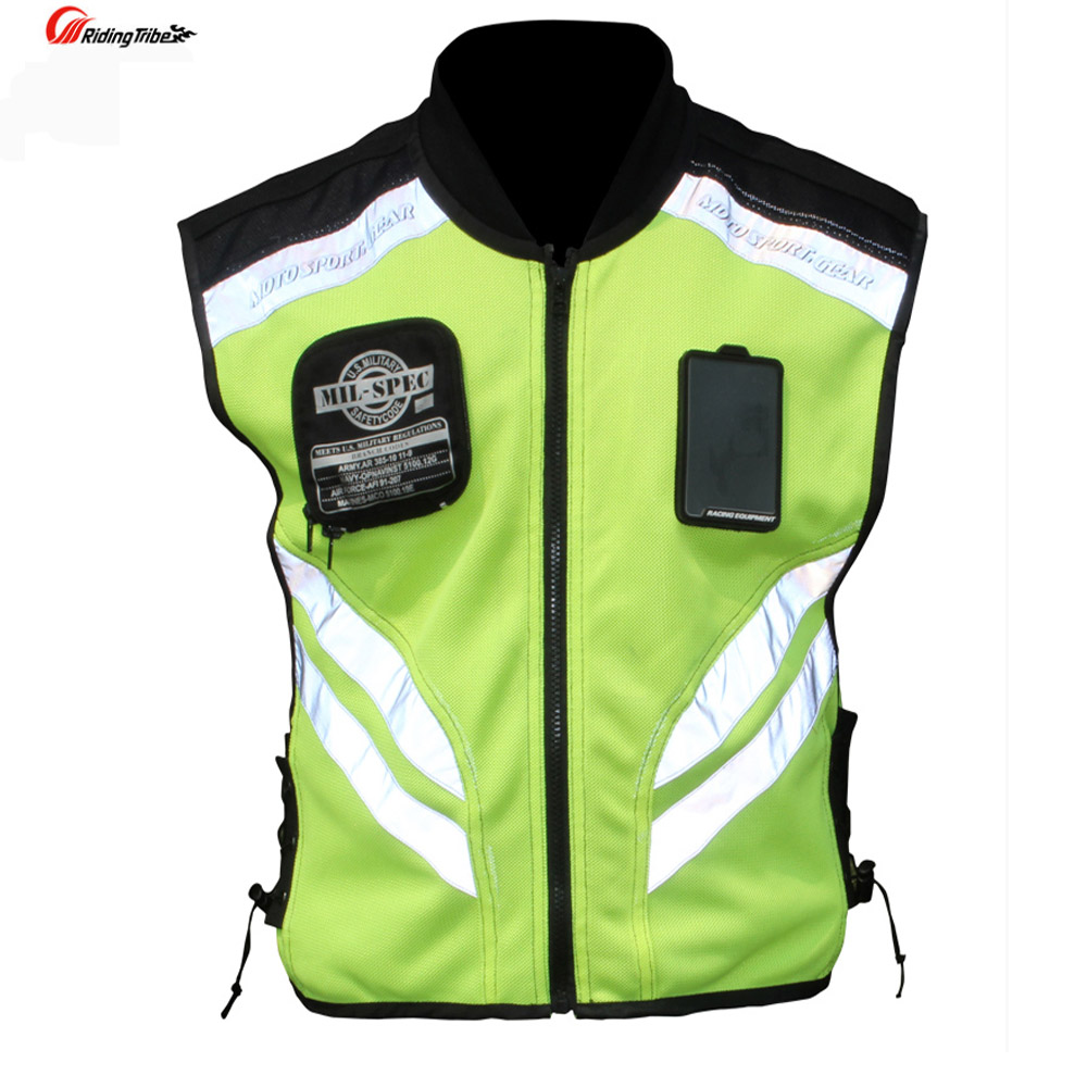 Rding Reflective Vest MOTO Waistcoat Non-sleeve Clothing Motocross Off-Road Racing Vest Motorcycle Touring Night Riding Jackets