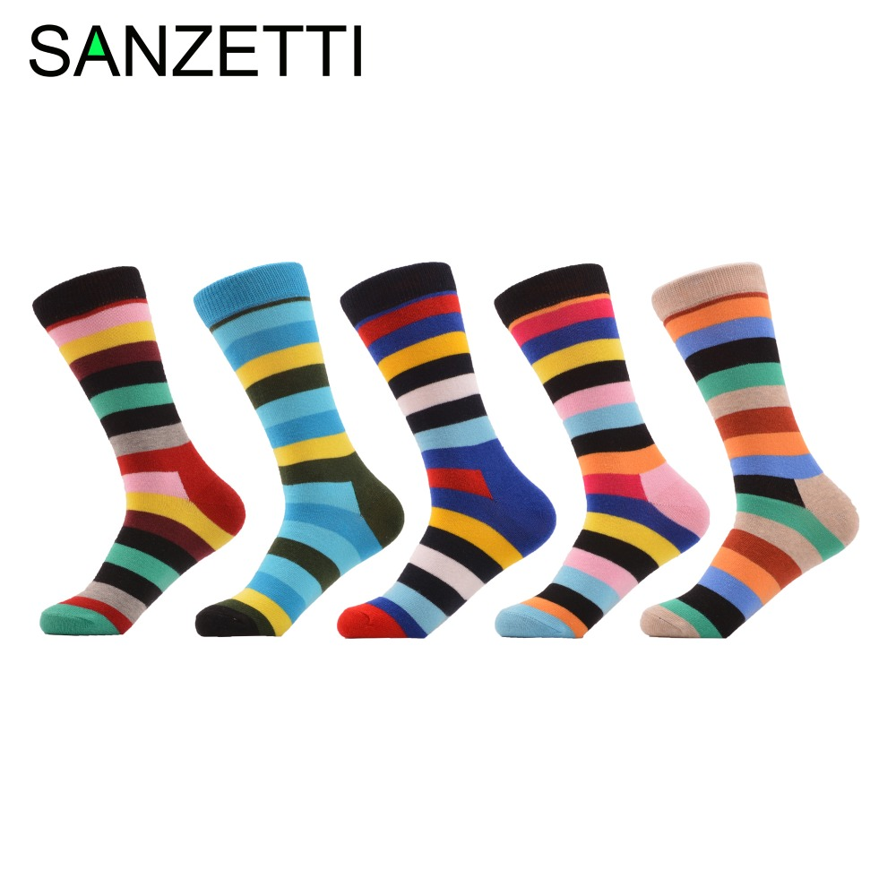 SANZETTI 5 Pairs/Lot Colorful Funny Combed Cotton Dress Wedding Striped   Socks   Casual Long Women Party   Sock   Novelty Fashion   Socks