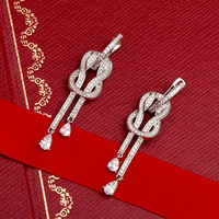 Top Quality Pure 925 Sterling Silver Jewelry For Women Long Drop CZ Earrings Luxcy Party Earrings Fine Costume Jewelry Earrings