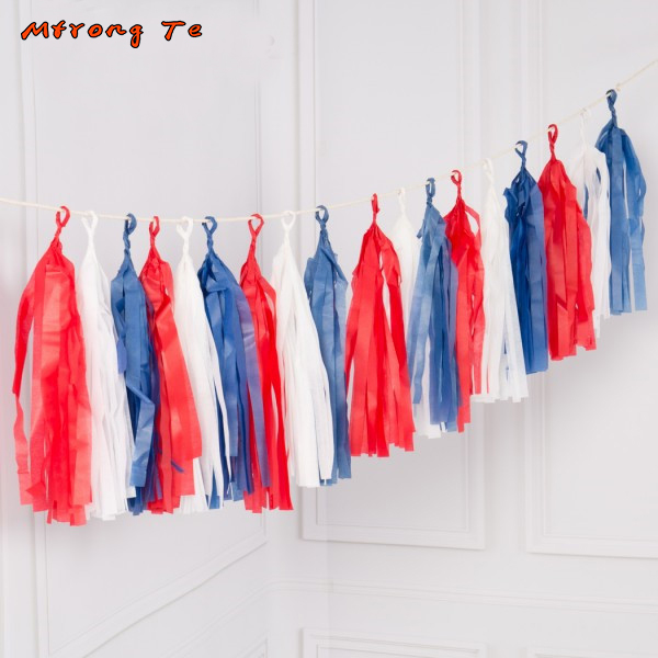 20pcs Tissue Tassels Balloon Banner for Hero Theme Birthday party Decoration baby shower one year old blue red white