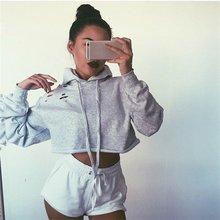 2017 Hot Casual Hoodie Sweatshirt Women Hooded Long Sleeve Women Crop Tops Tees Girls Hoodies Sweatshirts Womens Clothes