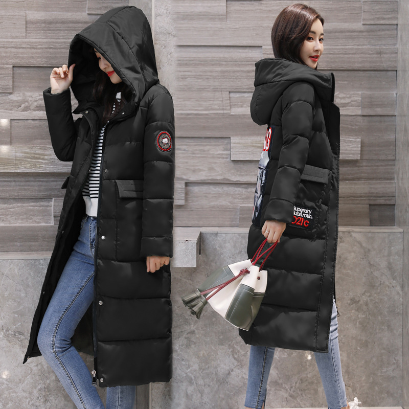 2017 Winter New Hot Fashion Women Thick Warm Long Sleeve Slim Coats Female Zipper Hooded Long Down Cotton-padded Jackets Parkas winter jacket women 2017 new female 5 color slim cotton padded jackets fashion short hooded zipper parkas coats a1013b 16601