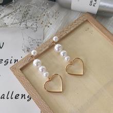 Simple Wild Imitation Pearl Earrings Heart-Shaped Pendant Long Tassel Dangle Earrings For Women Accessories Fashion Jewelry Gift цена